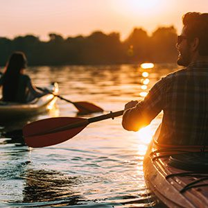 Couple in Canoes